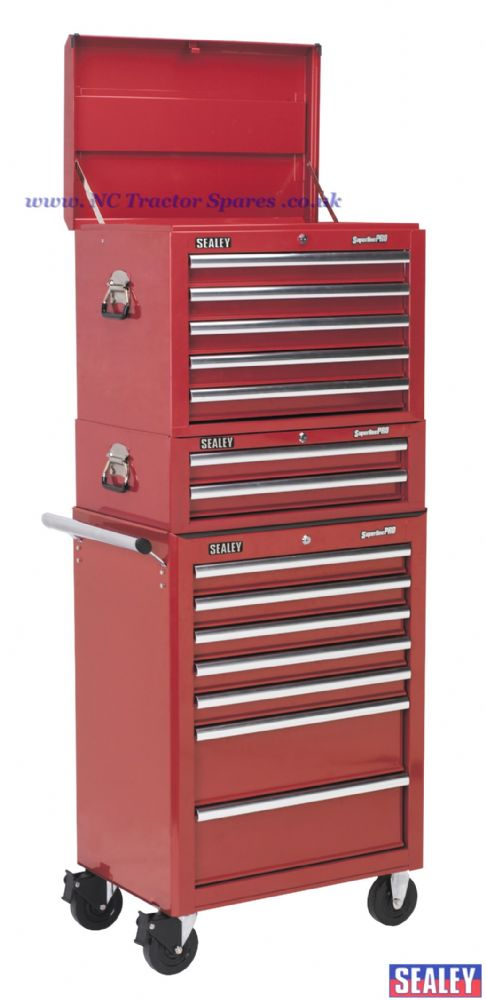 Tool Chest Combination 14 Drawer - Ball Bearing Runners - Red with 1179pc Tool Kit